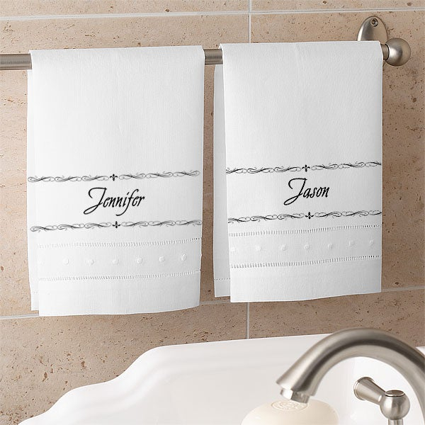 Personalized Linen Guest Towel Sets - Fleur de Lis Design - 4217