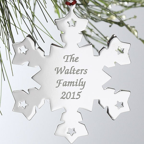 Engraved Silver Personalized Snowflake Christmas Ornament