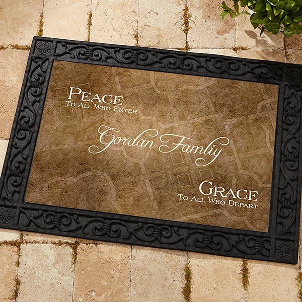 Personalized Family Name Welcome Mat - Peaceful Welcome Design - 4450