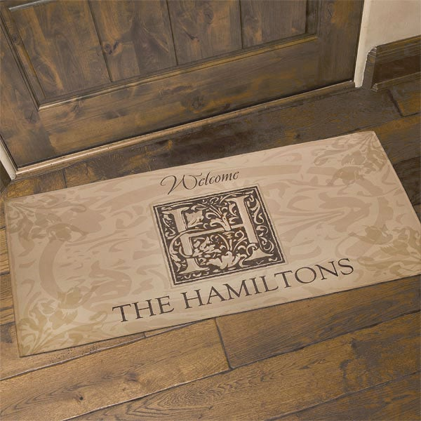 4489 Floral Monogram Personalized Doormat