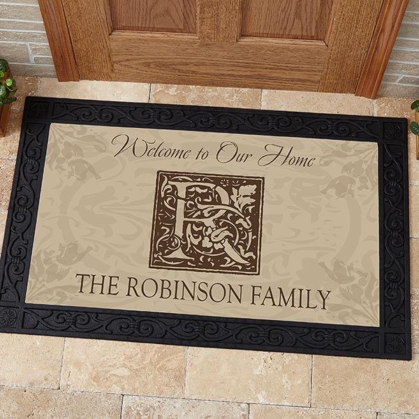 Personalized Door Mat - Family is Forever with Monogram - 4489