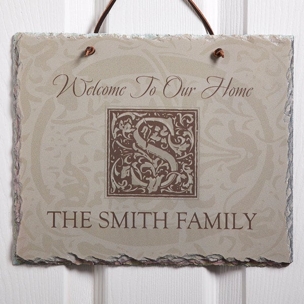 Personalized Slate Sign - Family is Forever Monogram - 4490