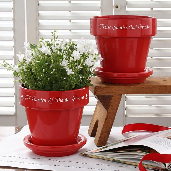 Personalization Mall & Personalized Flower Pots For Teachers - Red