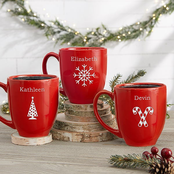 Personalized Holiday Mugs With Hot Cocoa