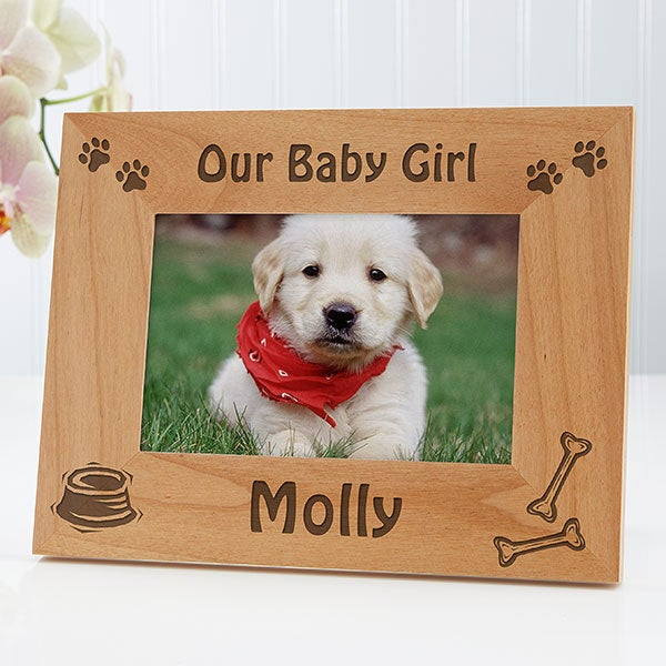 Personalized Wood Picture Frame Puppy Design