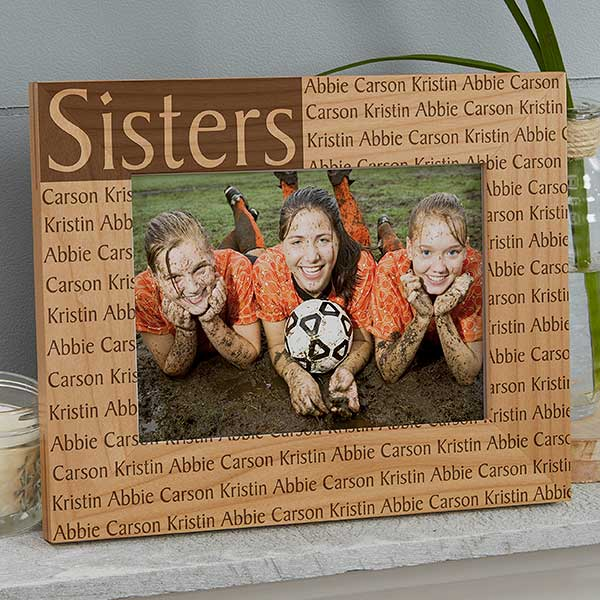 Sister /& Brother Love Siblings Personalised Engraved Wooden Photo Frame 5x7 Gift