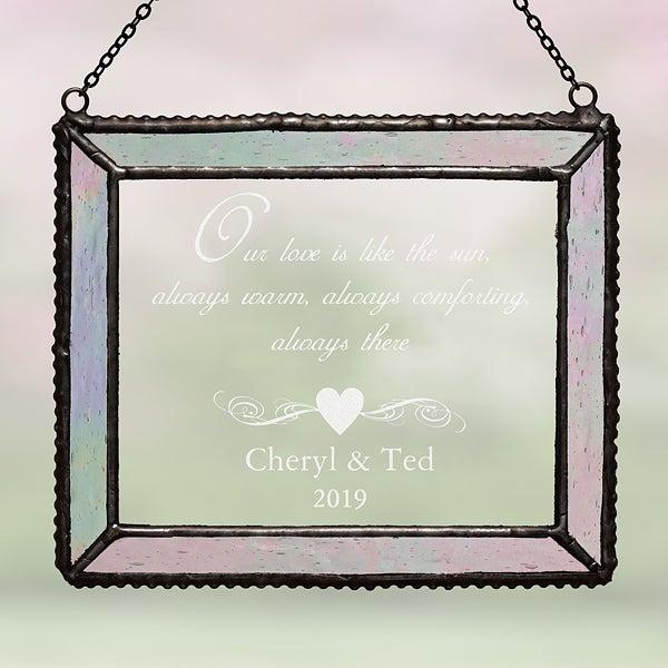 Engraved Iridescent Glass Suncatcher - Romantic Couples Design - 4789