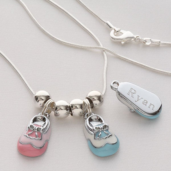 Personalized Sterling Silver Baby Bootie Necklace - 4792D