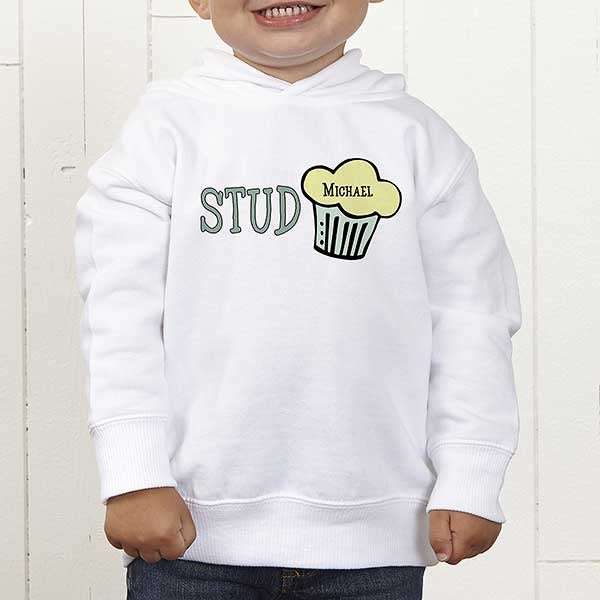2da95cdd4 Personalized Baby Boy Toddler Hooded Sweatshirt - Stud Muffin ...