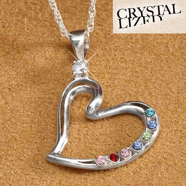 Personalized Mother's Heart Birthstone Pendant - 4951D