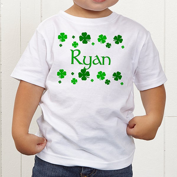 d7c6fd69 Personalized St. Patrick's Day Shamrocks Toddler T-Shirt - Clovers ...
