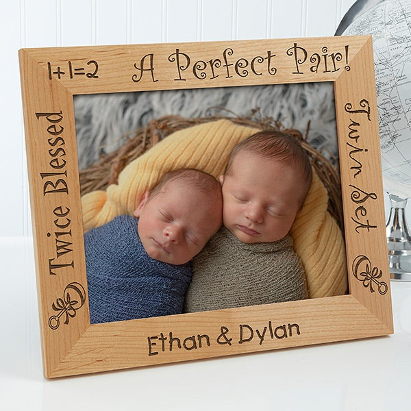 Personalized Twins Wood Picture Frame - A Perfect Pair - 5085