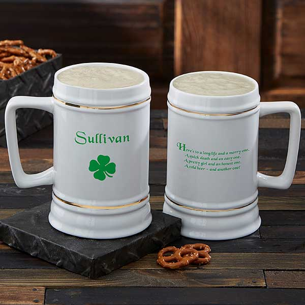 Personalized Irish Four Leaf Clover Ceramic Beer Stein - 5147