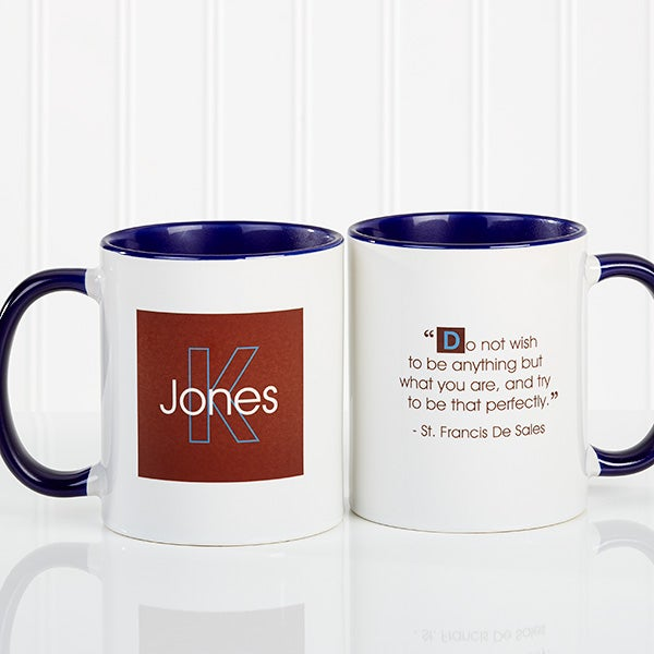 Personalized Coffee Mugs With Custom Quotes Blue Handle Office Gifts