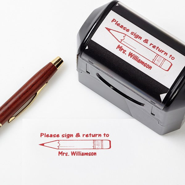 Personalized Self-Inking Teacher Stamps - Sign and Return - 5181