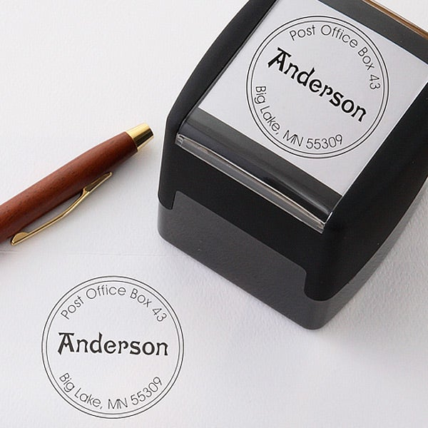 Personalized Self-Inking Address Stamp with Initial - Round - 5235