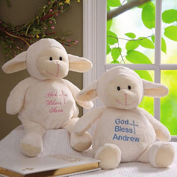 Personalized Stuffed Animals - Plush Christening Lamb - 5241