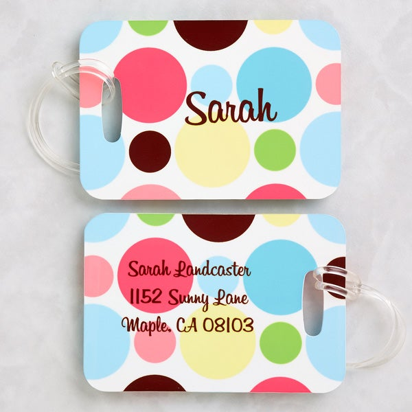 Personalized Polka Dot Luggage Tag Set - 5243