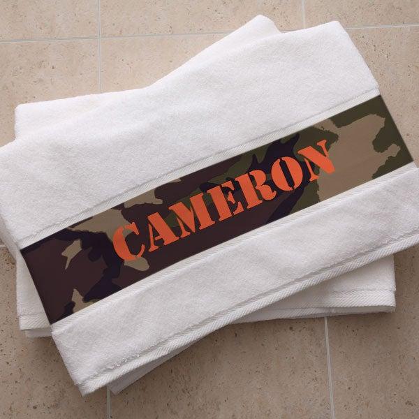 Personalized Cotton Bath Towels - Camouflage Design - 5275