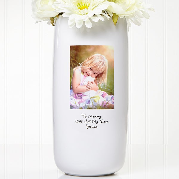 Personalized Stoneware Photo Flower Vase - 5306