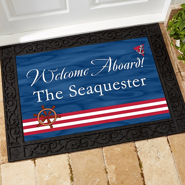 Personalized Boat Floor Mat - Welcome Aboard Design - 5354