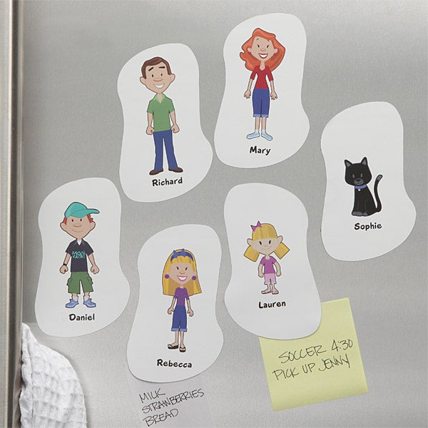 Family Cartoon Character Personalized Refrigerator Magnets - 5372