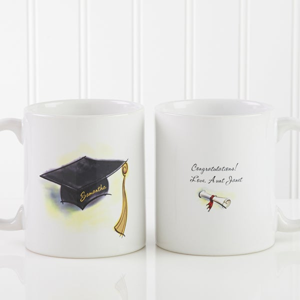 Graduation Cap & Diploma Personalized Coffee Mugs - 5389