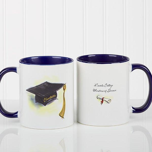 Graduation Cap & Diploma Personalized Coffee Mugs - 5389