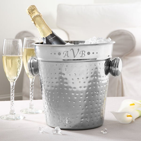 Personalized Stainless Steel Ice Bucket with Engraved Monogram - 5499