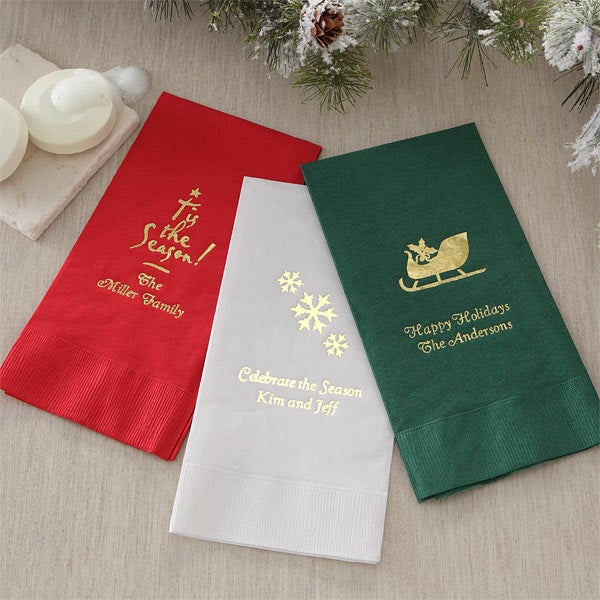 5562 Holiday Cheer Personalized Guest Towels