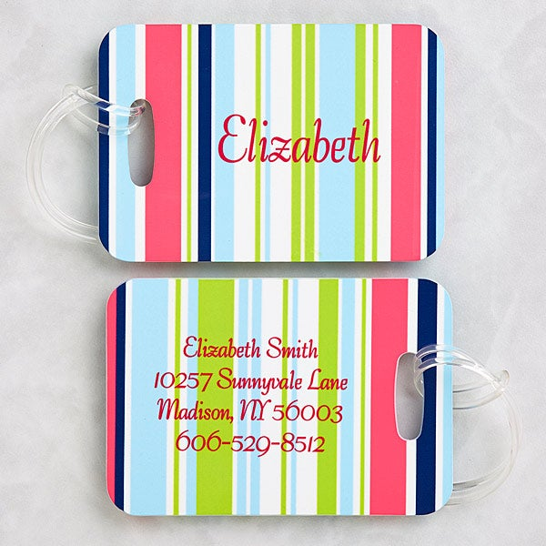 Personalized Luggage Tag Set - Stripes - 5648