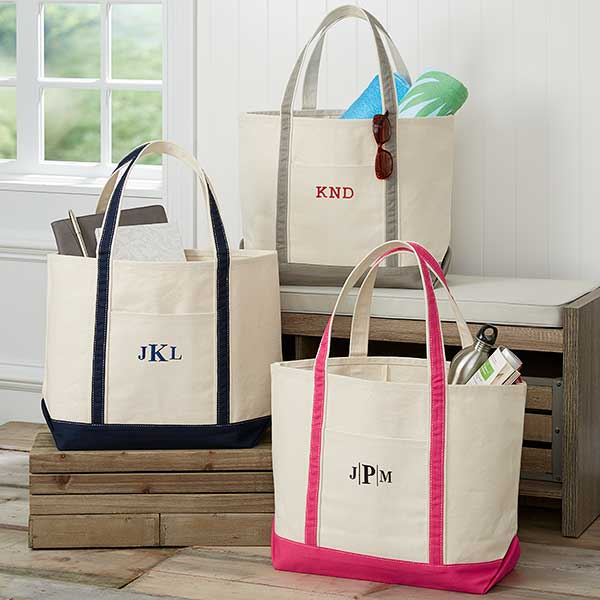 Monogrammed Canvas Tote Bags Weekend Getaway 5673