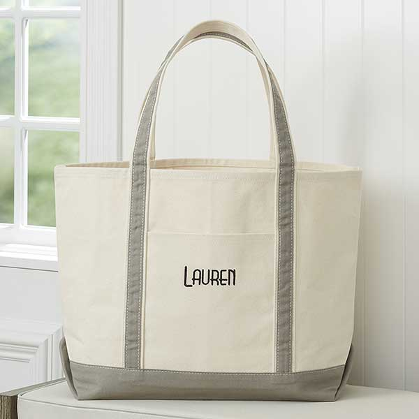 Deluxe Weekender Embroidered Tote Grey
