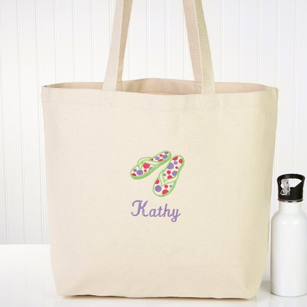 Ladies Personalized Beach Tote Bag - Flip Flop Fun - 5692