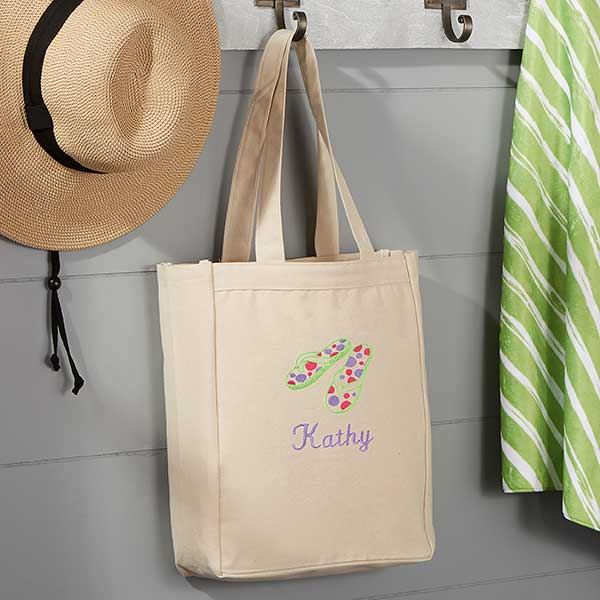 Flip Flops Embroidered Small Beach Canvas Tote Bag