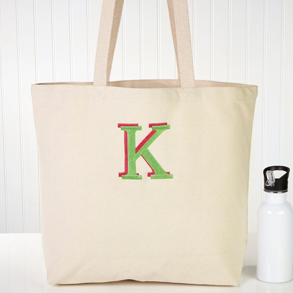 Embroidered Monogram Canvas Tote Bag - 5741