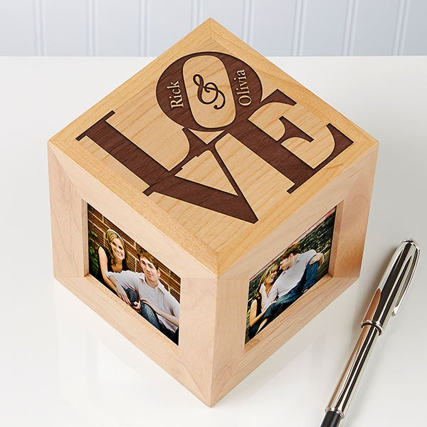 personalized wooden photo cubes our love