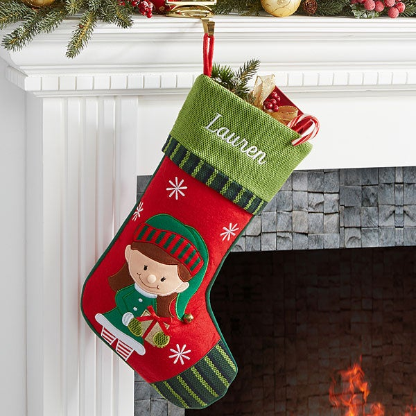 ebf4f92d5d1 Personalized Christmas Stockings - Girl Elf - Christmas Clearance
