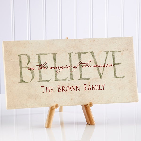 Believe Personalized Christmas Holiday Canvas Artwork - 6387