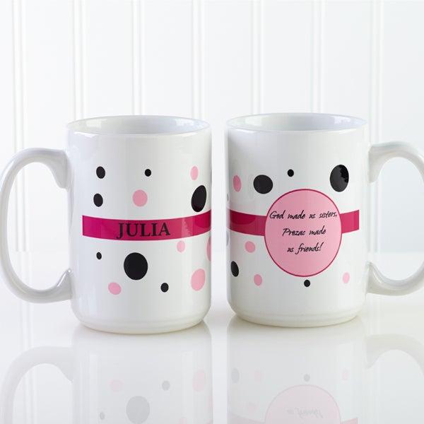 Ladies Polka Dot Personalized Coffee Mug for Women - 6395