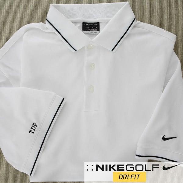 6412 personalized white nike dri fit golf polo shirt for Custom nike golf shirts