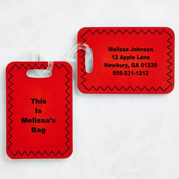 Personalized Luggage Tag Set with Custom Text - 6425