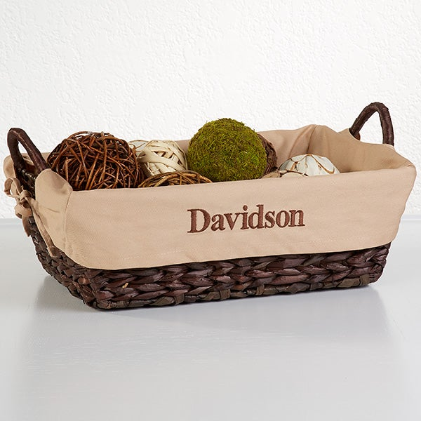 Personalized Lined Wicker Baskets - 6456