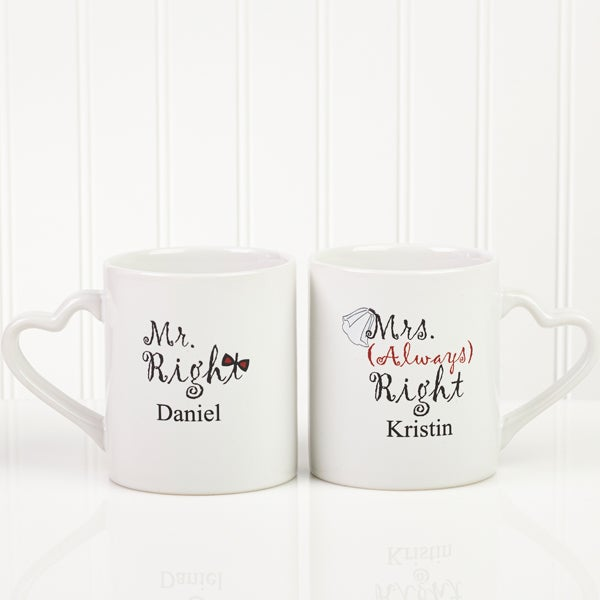 Mr. and Mrs. Right Personalized Lover's Mug Set