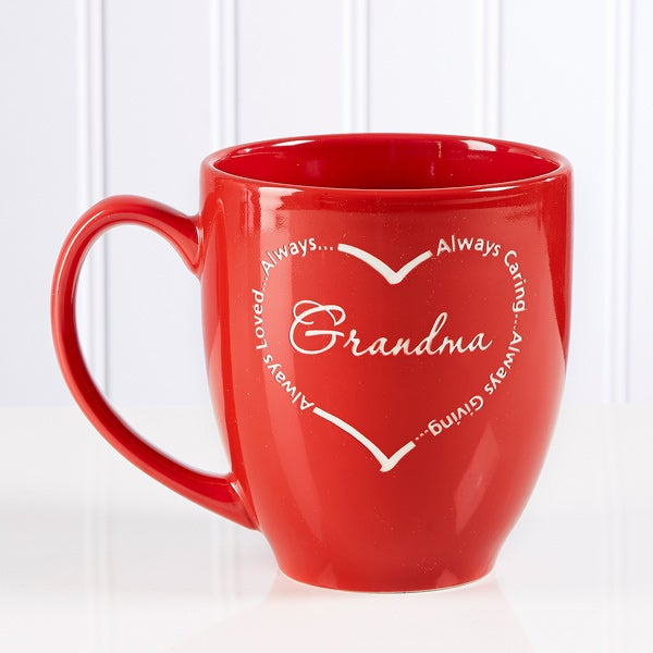 Always Loved Personalized Red Heart Coffee Mugs - 6492