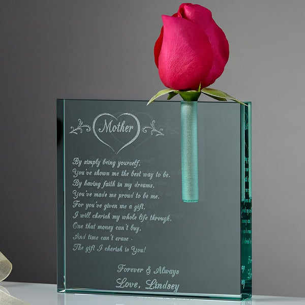 Personalized Glass Bud Vase - Mother I Love - 6524