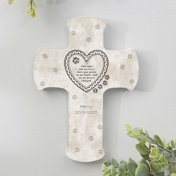 Grave Cross with Heart for animal With photo and Paws