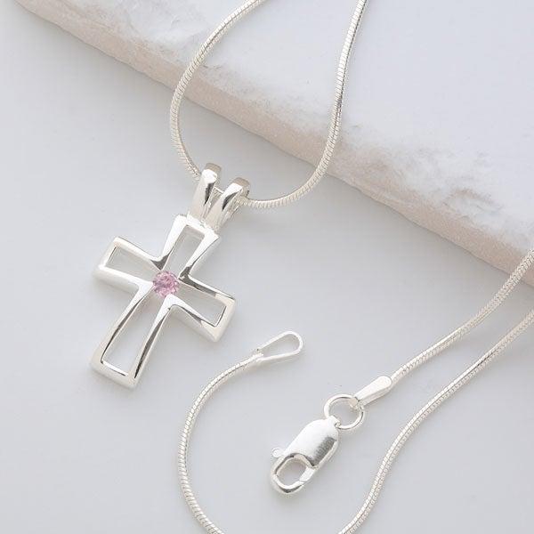 Sterling Silver Cross Necklace with Swarovski Birthstone - 6646D