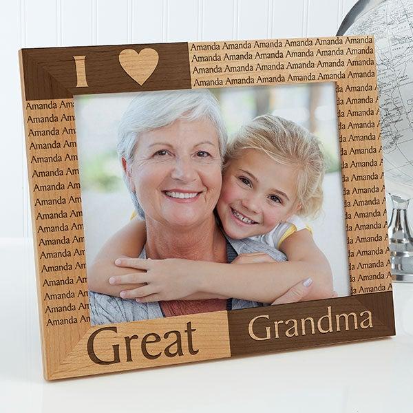 Proud Great Grandpa Frame Portrait hearts