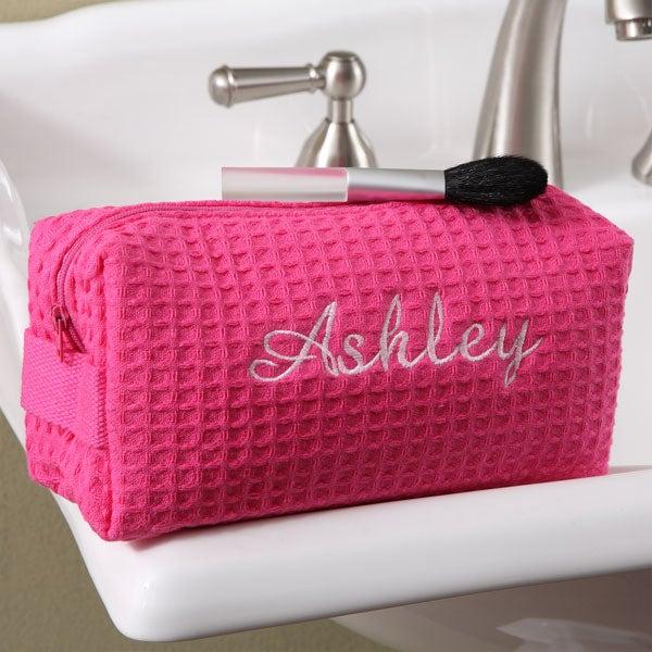 Embroidered Pink Make-up Bag